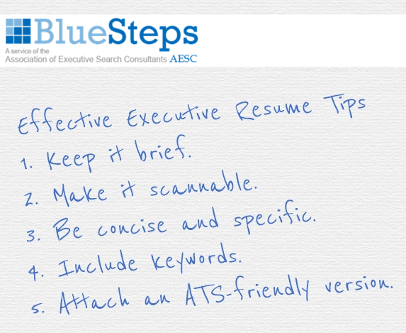 Executive Resume Tips Personal Branding Documents for Job Search