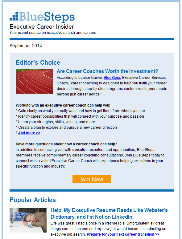 Blue Steps To Success: Receive The Free BlueSteps Blog Newsletter